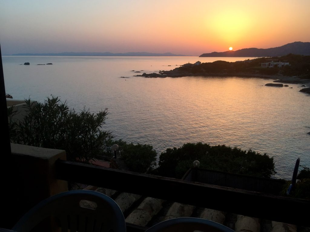 sunset seen from the house and its two terraces